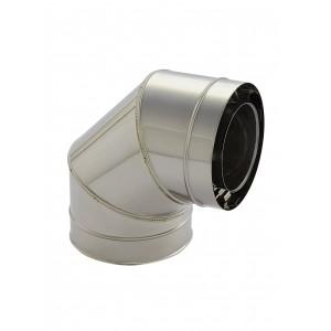 Holetherm schoorsteen/kachel buis concentrische bocht 90° DN 100/150 mm roestvrij staal