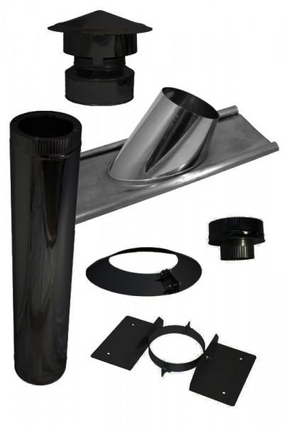 Cheminée Conduit de toit en kit pour toitures en tuiles noir