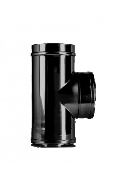T-stuk DN 150 dubbelwandig ISOTUBE Plus zwart