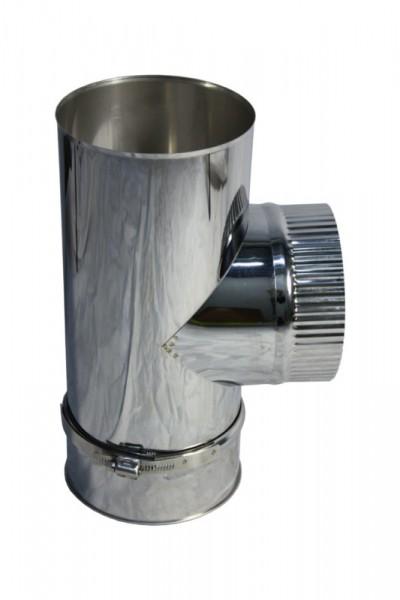 Pièce en T 90° DN 120 acier inoxydable à simple paroi