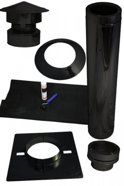 Schoorsteen dakdoorvoer voor platte daken met kunststof/EPDM in set zwart