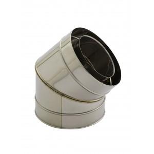 Holetherm schouw/kachelpijp Concentrische hoekbocht 45° DN 100/150 mm roestvrij staal